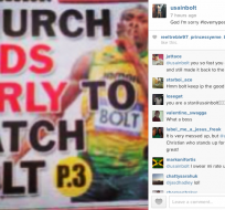 "Usain Bolt pide disculpas a Dios en instagram y twitter: ""God I am sorry"". Fuente Instagram"