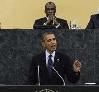 NACIONES UNIDAS, EE.UU.- El presidente de Estados Unidos pronuncia un discurso durante su intervención en el debate general de la 68ª sesión de la Asamblea General de Naciones Unidas. Foto: EFE.