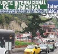 TULCÁN, Ecuador.- El renovado puente internacional Rumichaca dispone ahora de tres carriles. Foto: Internet