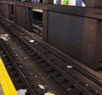 Un perro salta a las vías del metro para intentar ayudar a su amo invidente.