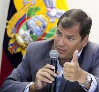 QUITO, Ecuador.- El presidente Correa durante el conversatorio con la prensa. Foto: Presidencia de la República