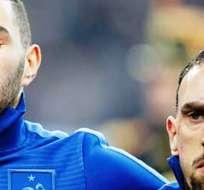 Benzema y Ribéry, en un partido con la selección francesa (Foto: Internet)