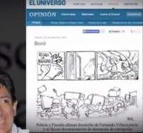El caricaturista y el medio fueron sancionados por la Superintendencia de Información por una caricatura que hace referencia al allanamiento de la casa del exsindicalista Fernando Villavicencio.
