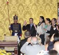 QUITO, Ecuador.- Correa durante la posesión de nuevas autoridades de su Gabinete. Fotos: API