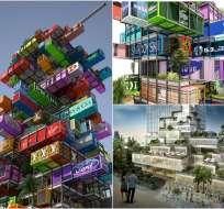 HONG KONG.- El hotel está hecho de docenas de contenedores de transporte reciclados y apilados unos sobre otros. Fotos: OVA Studio