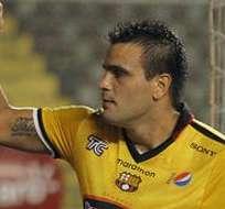 Federico Laurito celebrando un gol ante Mushuc Runa. Foto: API.