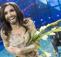 """Conchita Wurst de 26 años dedicó su triunfo a quienes creen """"en un futuro sin discriminación"""". Foto: EFE."""