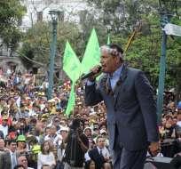 El Primer Mandatario estuvo en una concentración con sus simpatizantes en la Plaza Grande. Foto: API