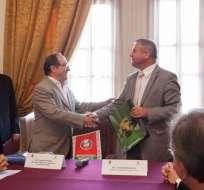 Ecuador y Bielorrusia firman un acuerdo mutuo de exención de visados. Foto: Cancillería de Ecuador
