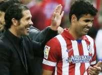 El 'Cholo' Simeone, junto a Costa en un encuentro del Atlético de Madrid (Foto: Internet)