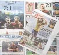 BRASIL.- La prensa alemana destaca considerablemente el triunfo histórico de su selección en canchas brasileñas. Fotos: EFE