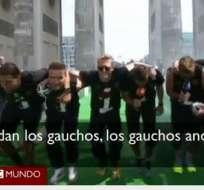 """Los jugadores alemanes festejaron el """"tetracampeonato"""". Imagen: BBC."""