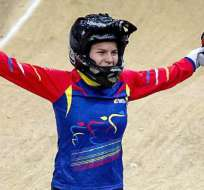 Ecuatoriana Doménica Azuero gana título mundial junior en BMX. Foto: EFE