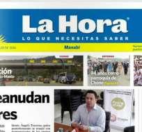 El diario regional La Hora de Manabí editó hoy su última publicación tras 16 años de circulación. Foto: Captura de Pantalla