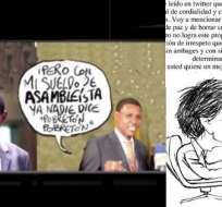 El caricaturista dijo sin embargo, que su dibujo estaba dirigido al asambleísta y no al futbolista.