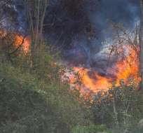 El incendio en el cerro Auqui ha consumido 7 hectáreas de bosques, según autoridades. Foto: EFE