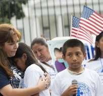 Más de 30 niños participaron de una manifestación frente a la Casa Blanca. Foto: AFP