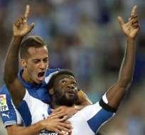 Caicedo celebró su primer gol con Espanyol. Foto: EFE.