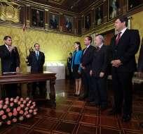 Correa posesionó a ministros de Defensa, Seguridad, Telecomunicaciones, Turismo y Cultura. Foto: Presidencia