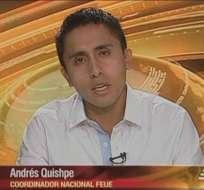 ECUADOR.- Andrés Quishpe durante su entrevista en Contacto Directo. Foto: Ecuavisa