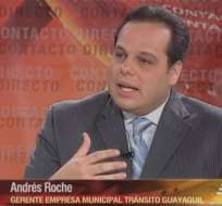 GUAYAQUIL, Ecuador.- Andrés Roche durante su entrevista en Contacto Directo. Foto: Ecuavisa