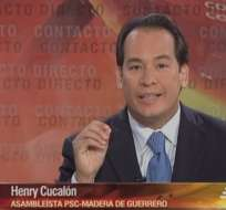 GUAYAQUIL, Ecuador.- Henry Cucalón durante su entrevista en Contacto Directo. Foto: Ecuavisa