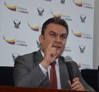 El ministro Serrano calificó de negligente trasladar más de USD 3 millones sin resguardo policial. Foto: Ministerio del Interior