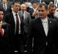 SUIZA, Ginebra.- Rafael Correa en la Conferencia Magistral dictada en el Instituto de Altos Estudios Internacionales. Foto: Presidencia