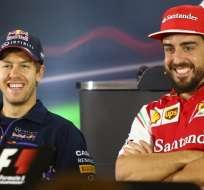 Sebastián Vettel (i) reemplazará al español Fernando Alonso (d). Foto: AFP