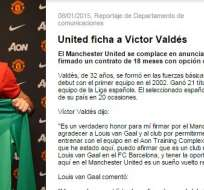 Valdés anunciado en la web oficial del Manchester.