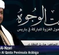 """Un líder de la organización terrorista Al Qaeda pidió a los franceses """"convertirse al islám"""" como el camino de vida correcto. Captura de AFP."""