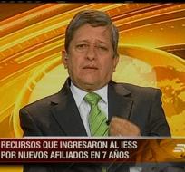 ECUADOR.- El ministro de Trabajo, Carlos Marx Carrasco, durante su entrevista en Contacto Directo. Foto: Ecuavisa.