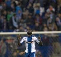 Caicedo anotó los dos goles del Espanyol. Foto: EFE.