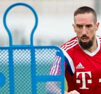 El francés Franck Ribery, durante un entrenamiento de su equipo (Foto: EFE)