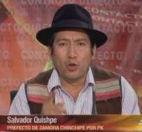 ECUADOR.- Salvador Quishpe durante su entrevista en Contacto Directo. Foto: Ecuavisa