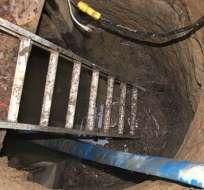 La escalera marca el sitio de entrada al túnel enigmático de 10 metros de largo y dos de ancho.
