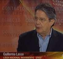 ECUADOR.- Guillermo Lasso durante su entrevista en Contacto Directo. Foto: Ecuavisa