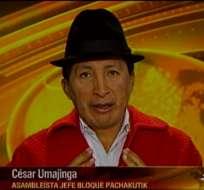 ECUADOR.- César Umajinga durante su entrevista en Contacto Directo. Foto: Ecuavisa