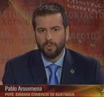 ECUADOR.- Pablo Arosemena durante su entrevista en Contacto Directo. Foto: Ecuavisa