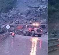 Las intensas lluvias registradas este jueves causaron 35 deslizamientos en la vía. Fotos: Policía Nacional.