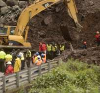 El tema de la posible declaratoria de campo santo al kilómetro 28 de la vía Alóag-Santo Domingo, todavía es analizada por las autoridades. Foto: API.