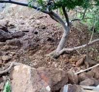 DURÁN, Ecuador. En lo que va del año son dos los deslizamientos de tierra que se han generado en el cerro Las Cabras. Foto: Twitter @AlcaldiaDuran