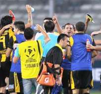 Los jugadores del Guaraní celebran la clasificación (Foto: EFE)
