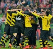 La alegría del Borussia tras vencer al Bayern. Foto: EFE.