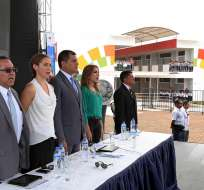 ECUADOR.- El acto se desarrolló en la Unidad Educativa Réplica Nicolás Infante Díaz, de Quevedo. Foto: Presidencia de la República