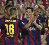 Messi, Neymar y Williams anotaron los goles para el equipo catalán. Foto: AFP