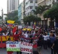 GUAYAQUIL.- El grupo se concentró en el parque Centenario y caminó a lo largo de la avenida 9 de Octubre. Foto: Web Archivo.