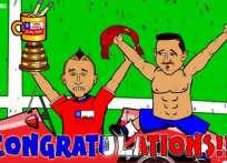 Así festejaron los chilenos al final, según 4-4-2oons.