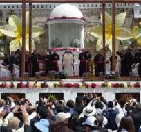 El papa Francisco cumplió su última actividad en el santuario de El Quinche. Foto: AFP