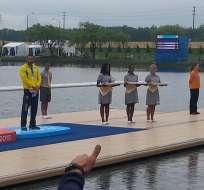 César de Cesare obtuvo el tercer puesto en la prueba 200 metros K1 de canotaje.